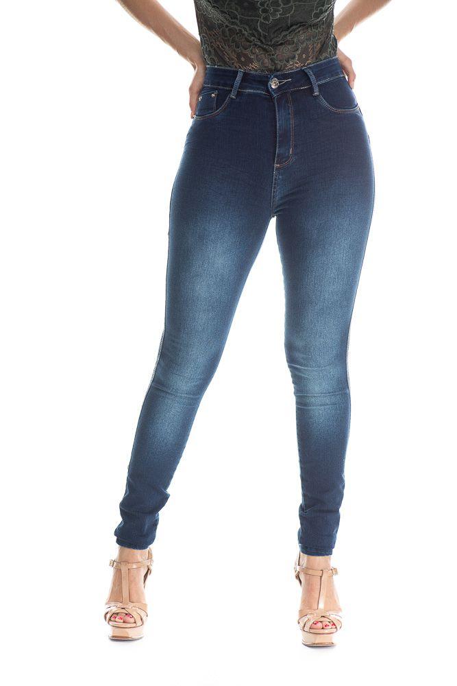 Calça Jeans Básica Estonado Na Coxa Up Line Escura