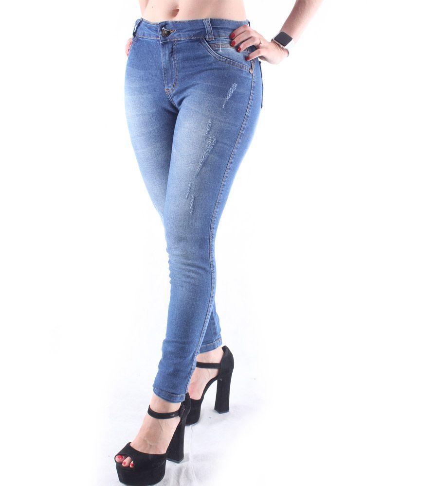 Calça Jeans Skinny Com Puído e Detalhe na Barra