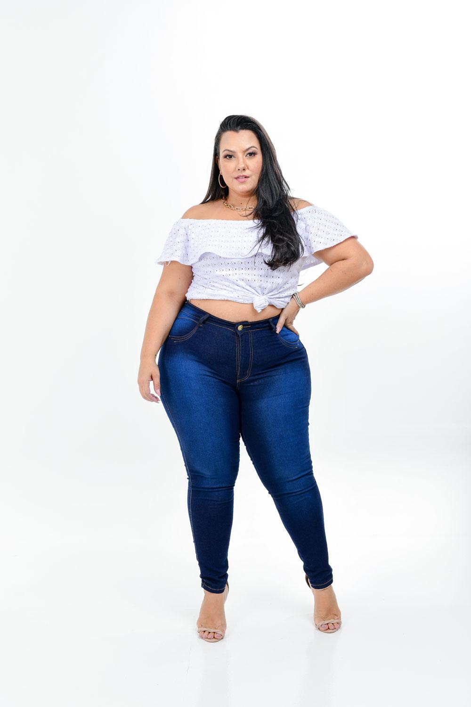 Calça Jeans Lavagem Escura Plus Size -Potêncial Jeans