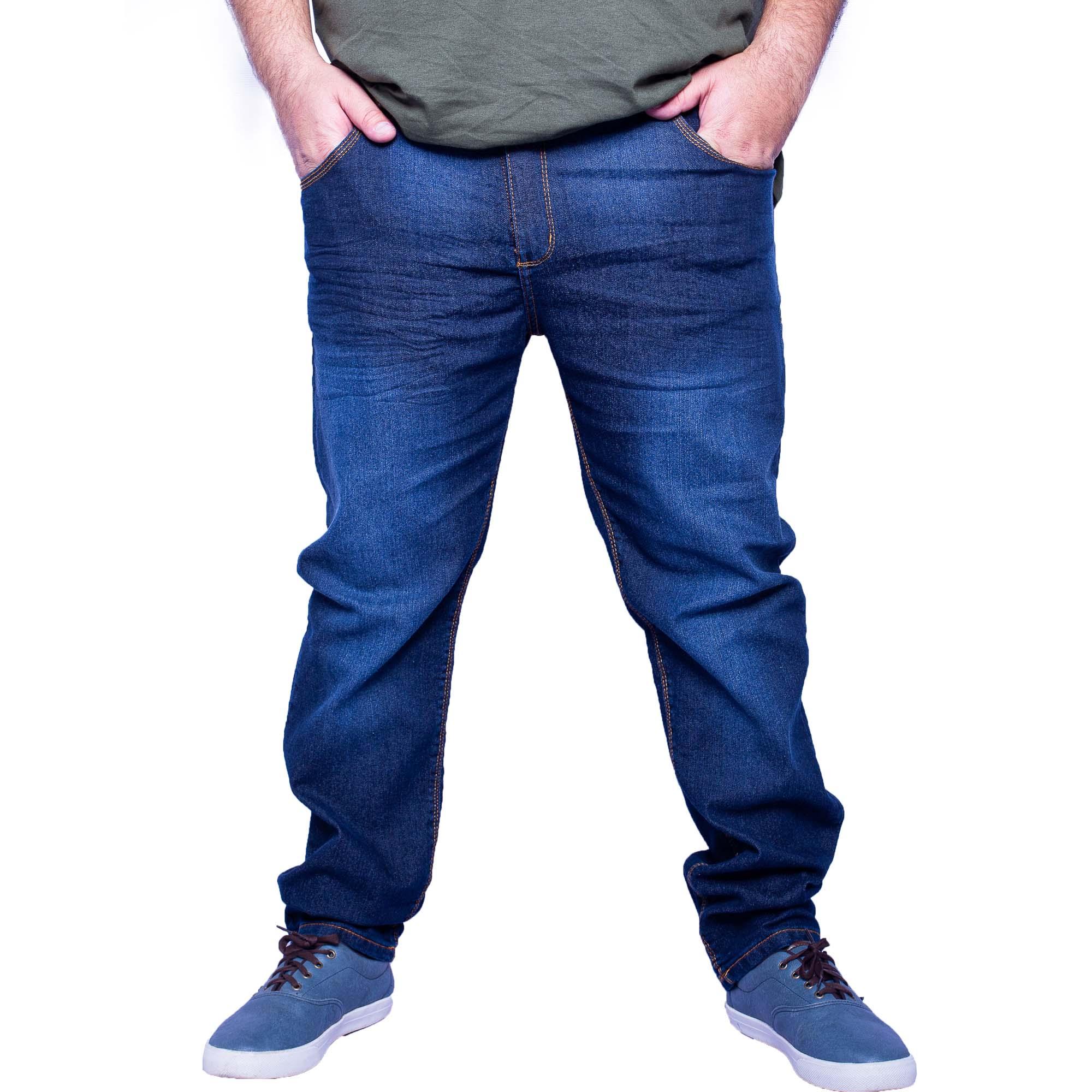 Calça Jeans Masculina Plus Size Marmorizado Escuro - Aizone