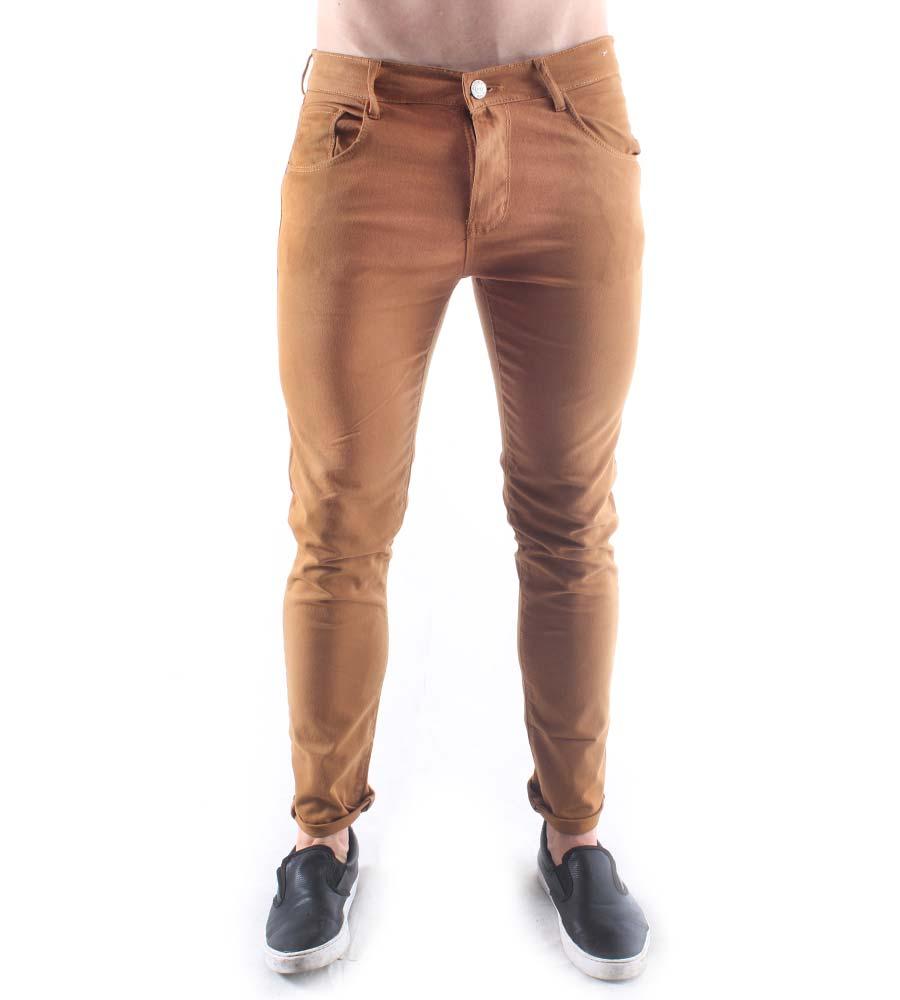 Calça Jeans Skinny Aizone Masculina Básica Lisa Bege
