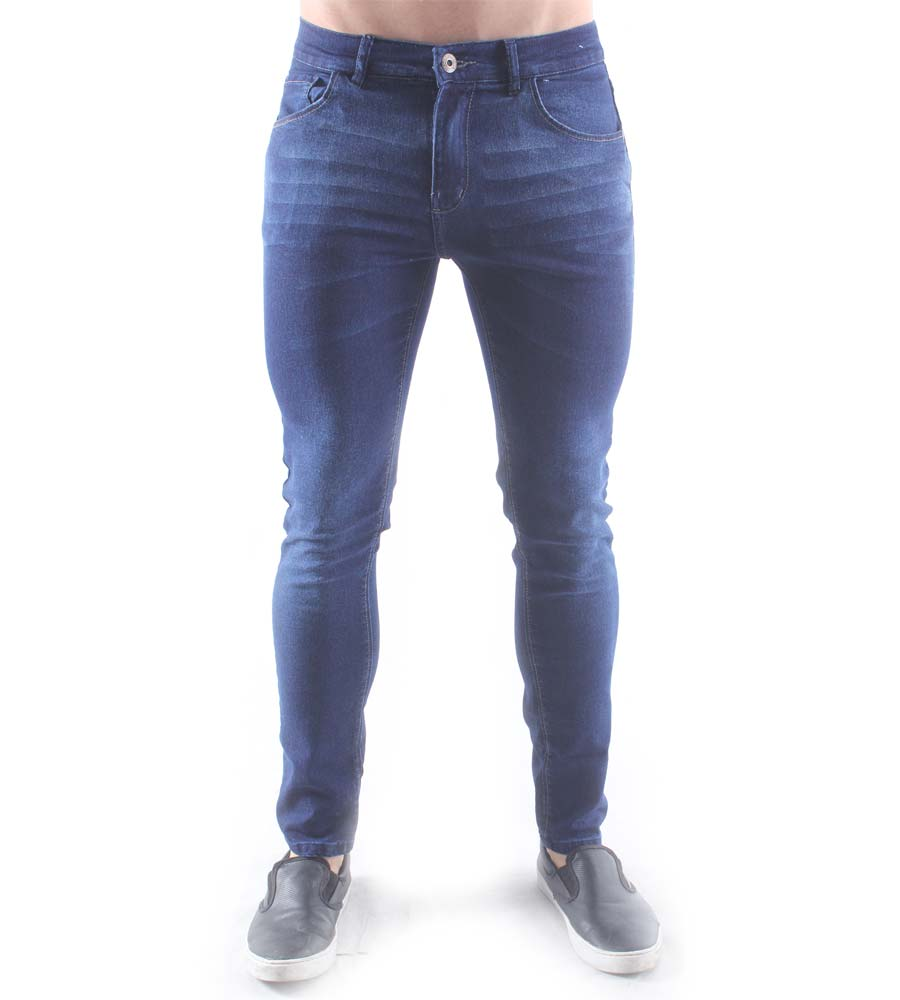 Calça Jeans Skinny Aizone Masculina Estonada Com Detalhes