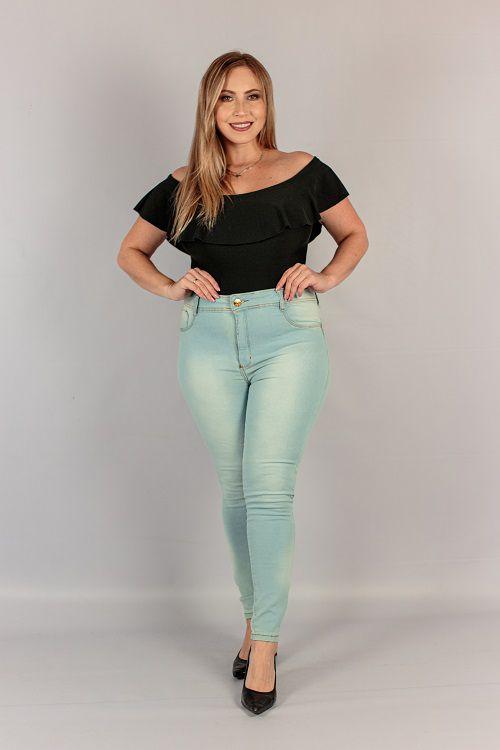 Calça Jeans Plus Size Skinny Básica Clara Jezzian