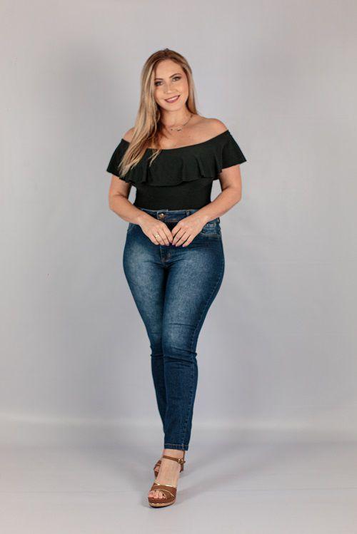Calça Jeans Skinny Básica Escura Jezzian