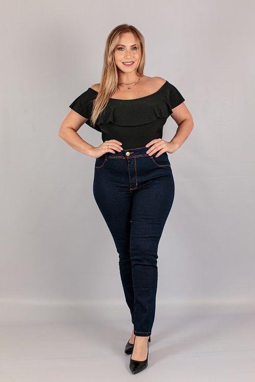 Calça Jeans Skinny Escura Feminina Jezzian