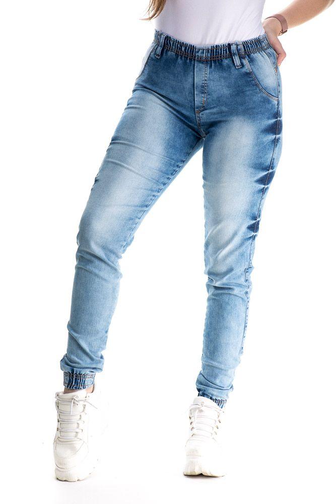 Calça Jogger jeans Com Punho Lavagem Diferenciada