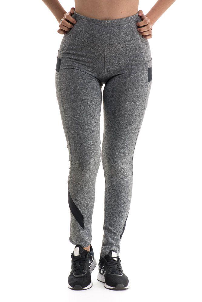 Calça Legging com Bolso Lateral Em Suplex  Detalhes Em Preto com mescla