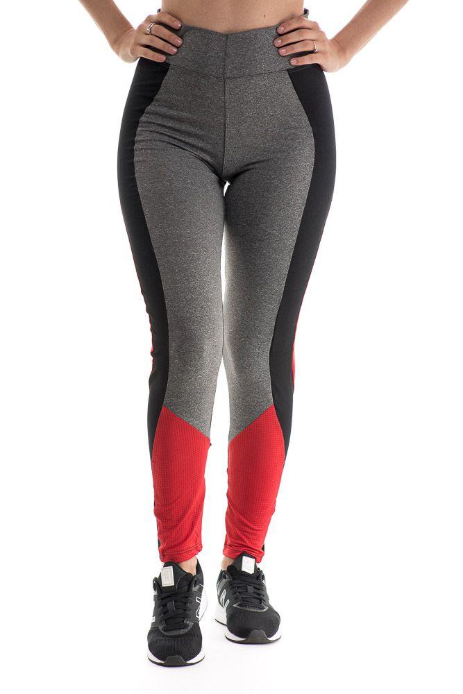 Calça Legging Fitness Suplex Mescla Com Detalhe Preto e Vermelho
