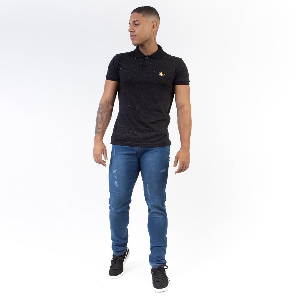 Calça Masculina Jeans Com Puídos Aizone