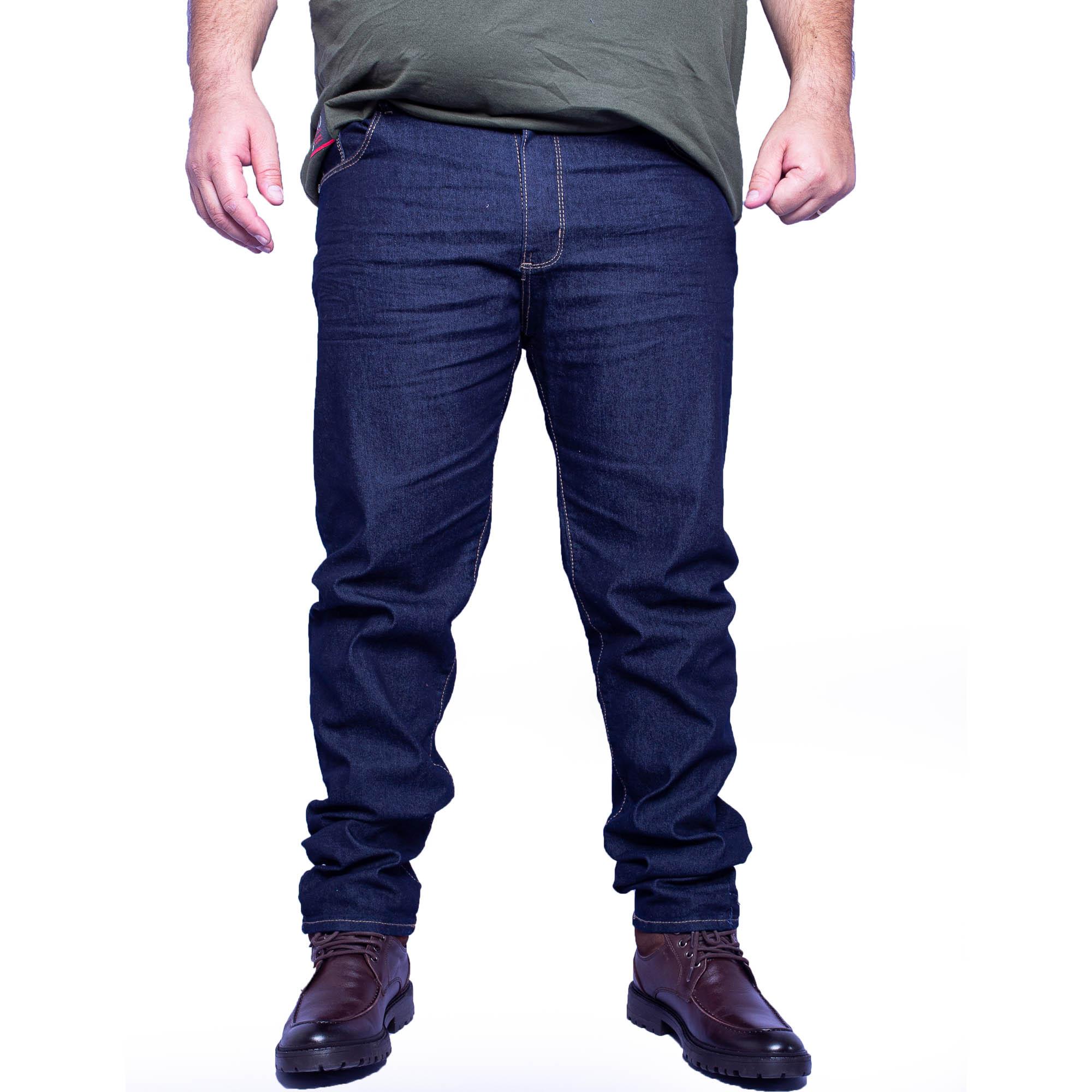 Calça Masculina Jeans Escuro Plus Size - Aizone