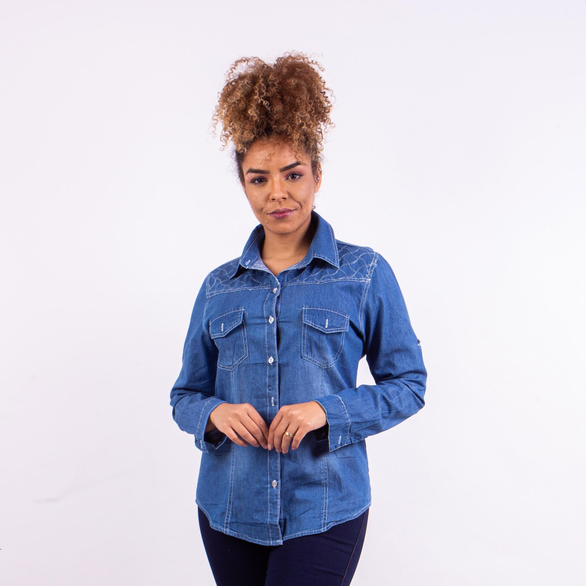 Camisa Jeans Marmorizada Com Detalhe Em Costura