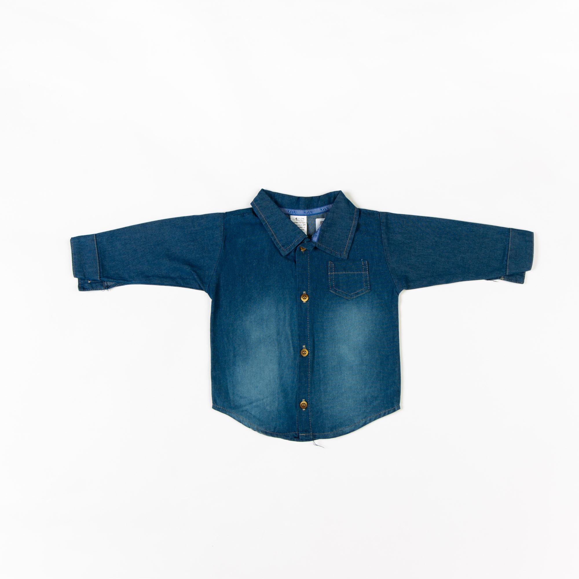 Camisa Jeans Infantil Manga Longa