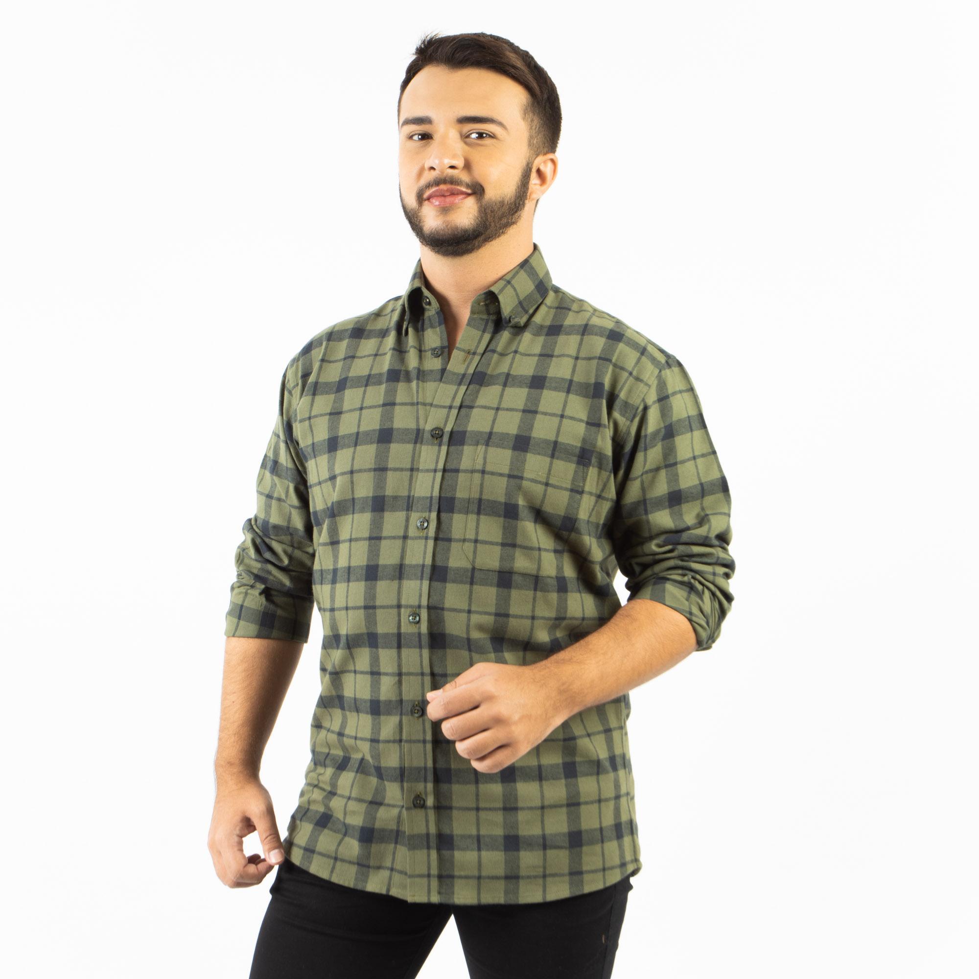 Camisa Manga Longa Xadrez Flanela Regular