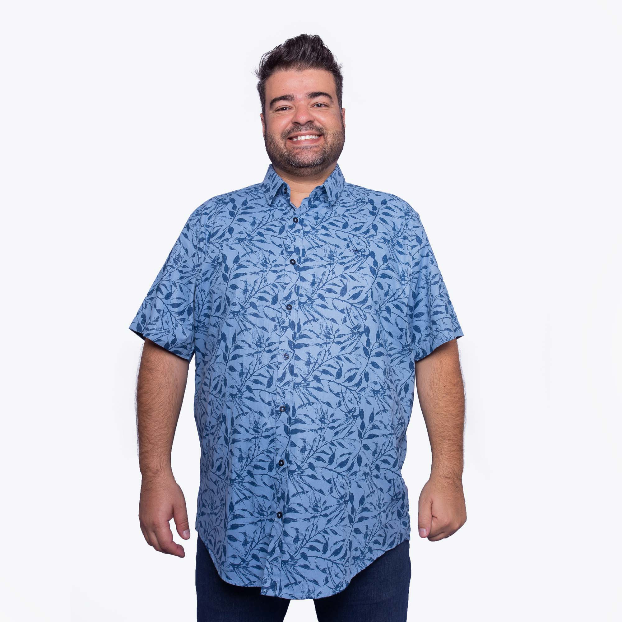 Camisa Masculina Plus Size Azul Floral - MX-72
