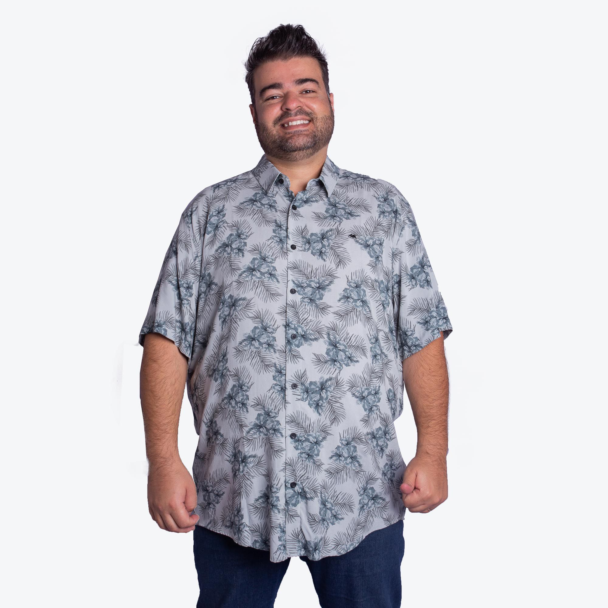 Camisa Masculina Plus Size Viscose Floral - MX-72