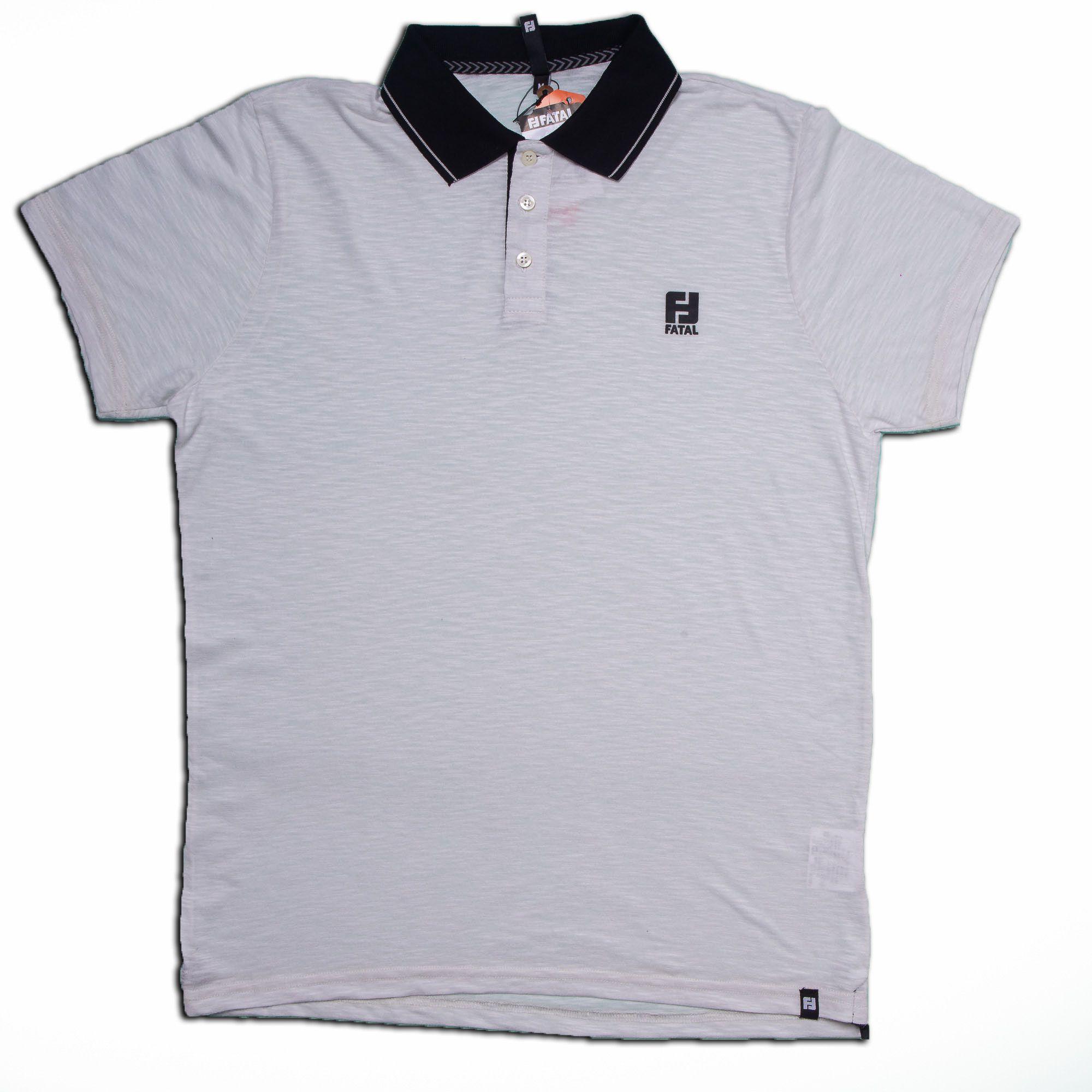 Camisa Polo Masculina Lisa Branco - Fatal