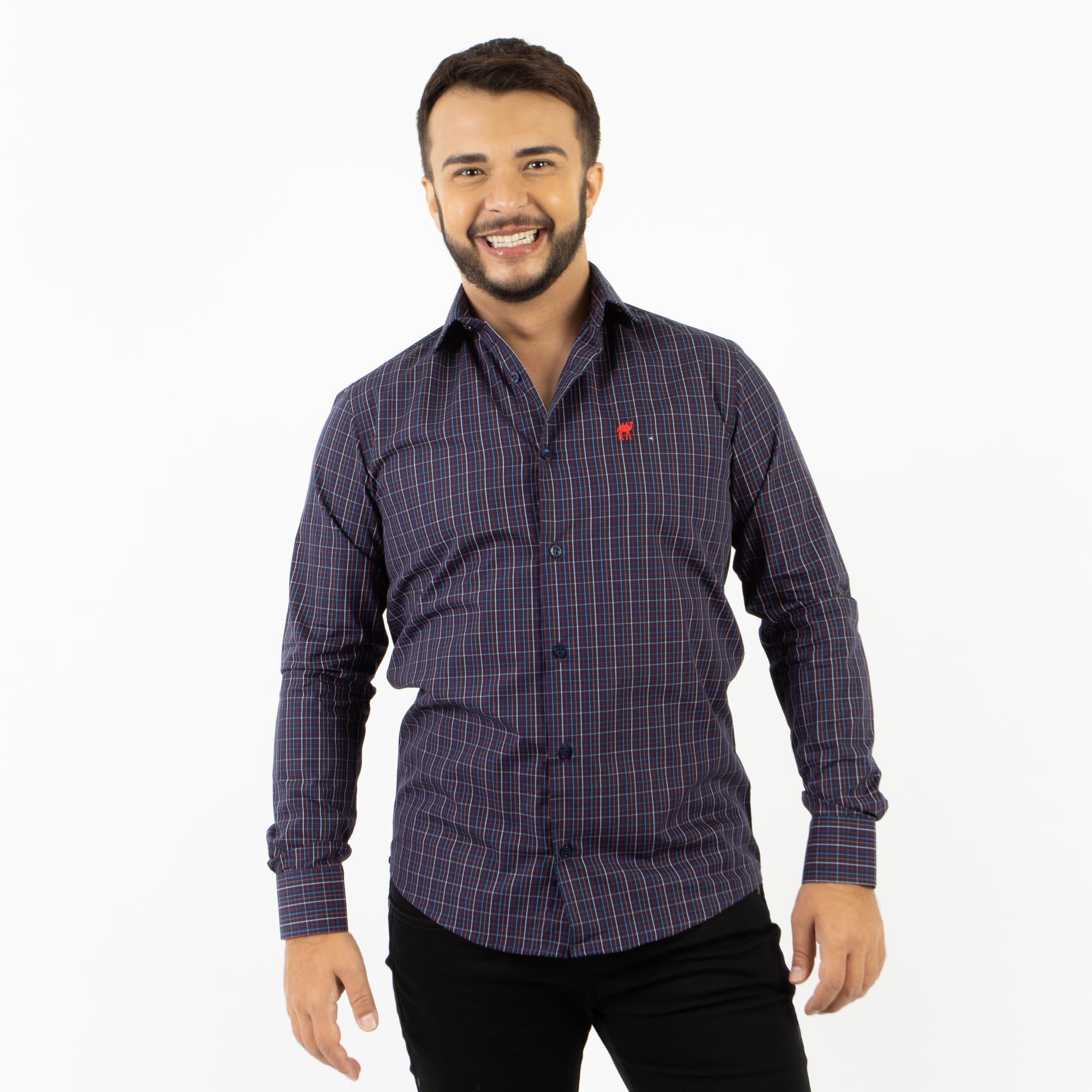 Camisa Social Slim Fit Manga Longa Xadrez