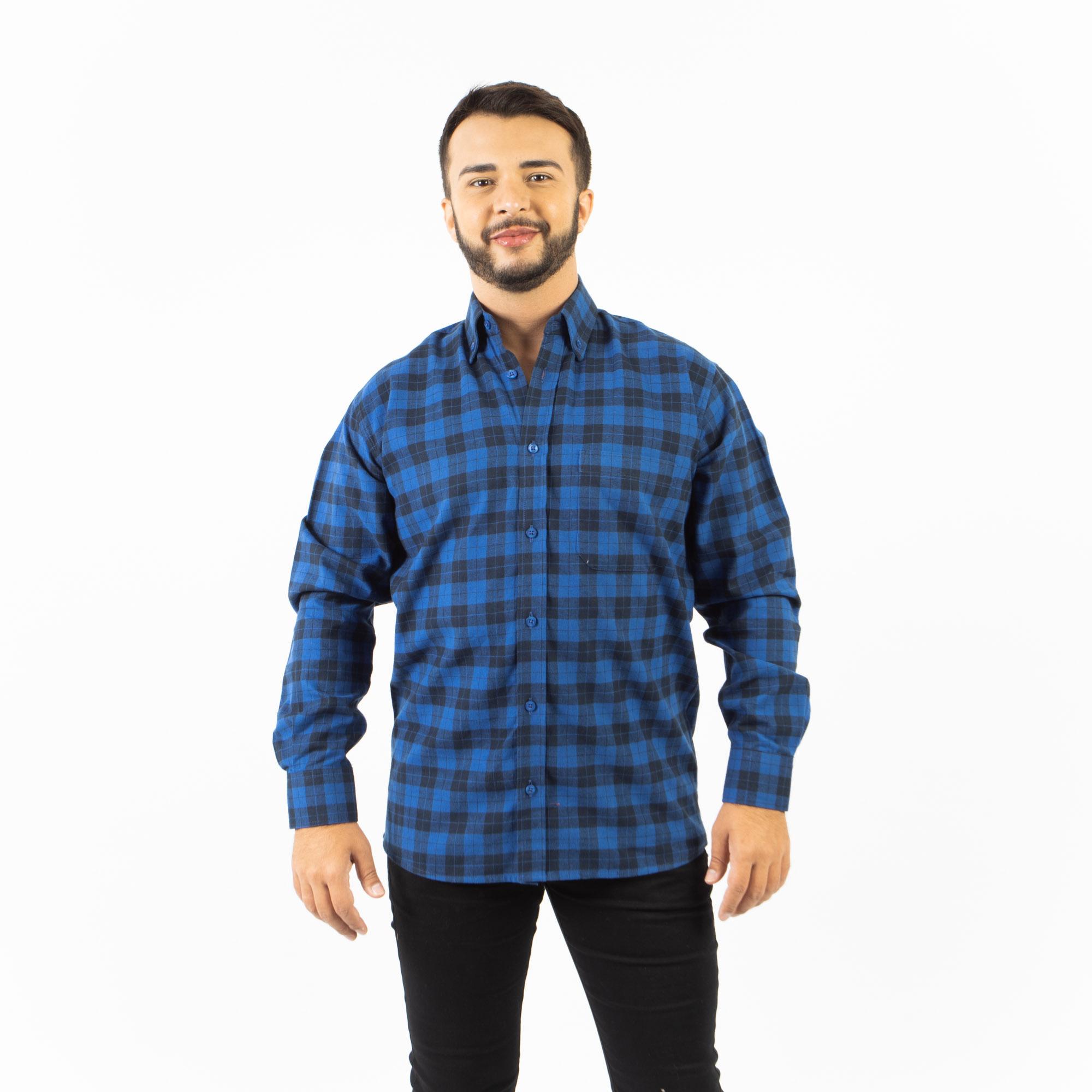Camisa Xadrez Regular Flanela Manga Longa