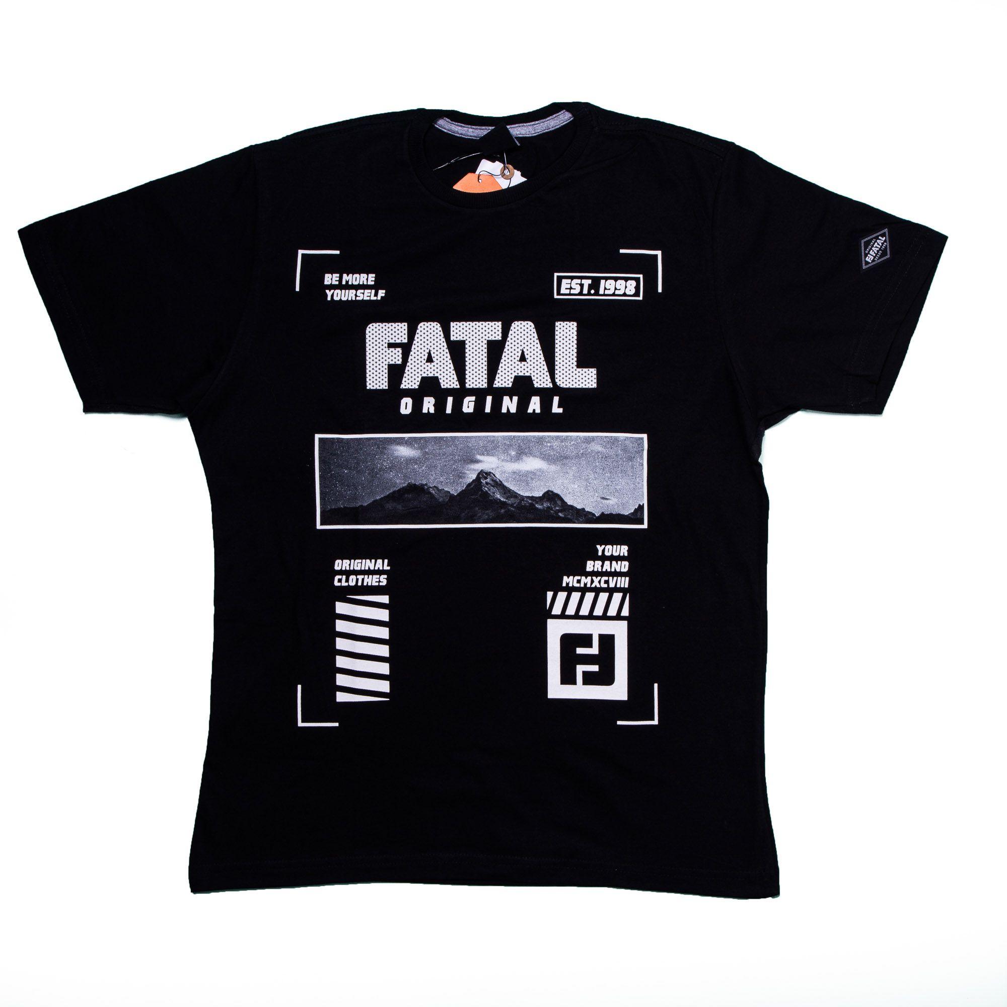 Camiseta Masculina Algodão Estampada - Fatal