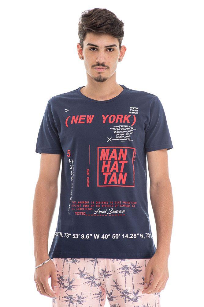 Camiseta Estampada New York Azul