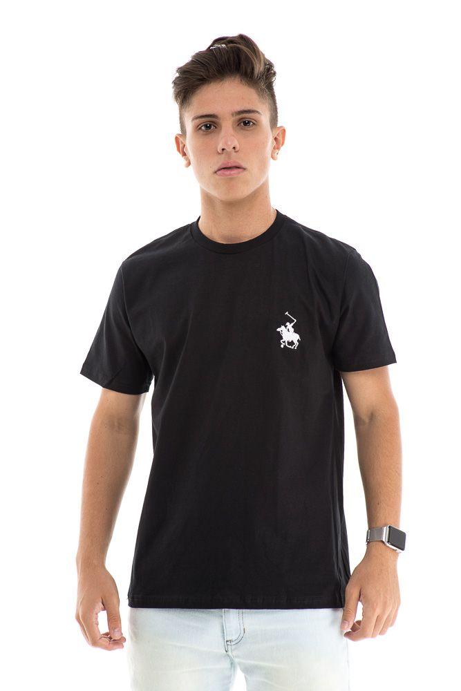 Camiseta Básica Algodão Com Bordado