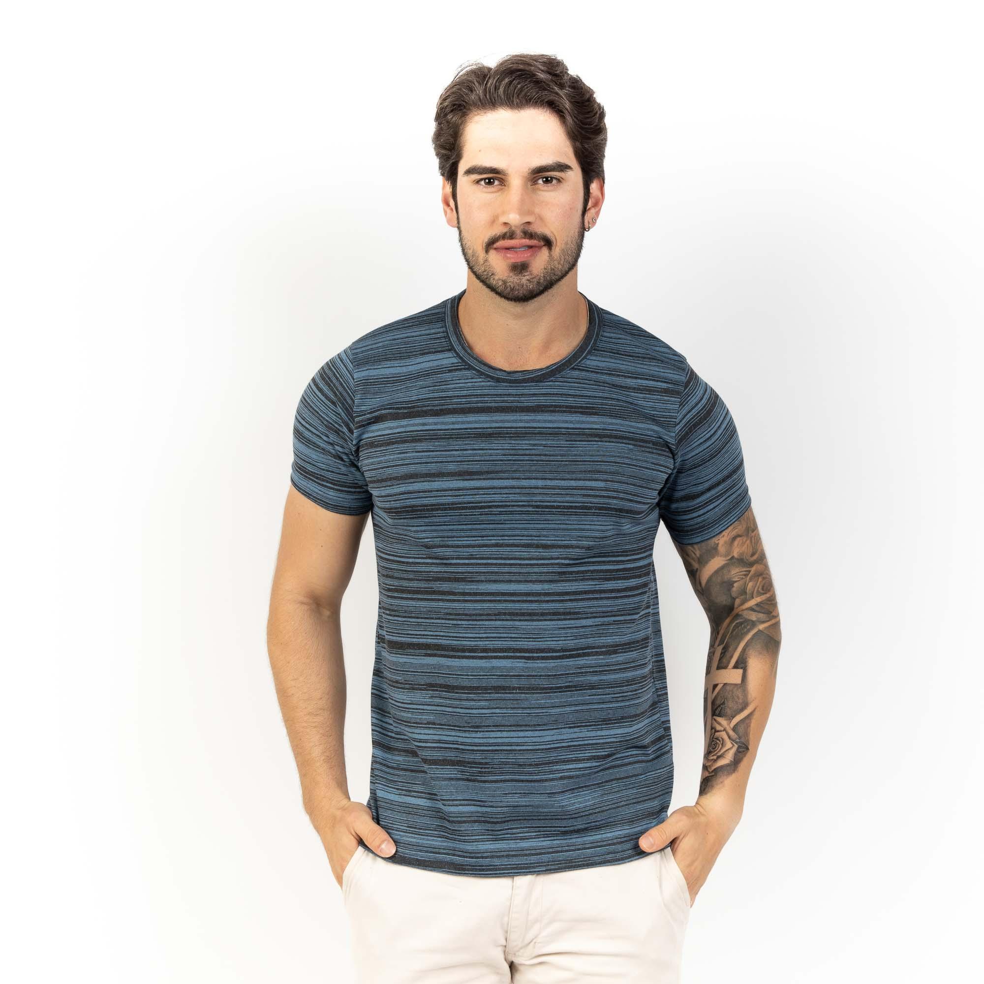 Camiseta Em Malha Masc Com Listras P/GG -Dezali