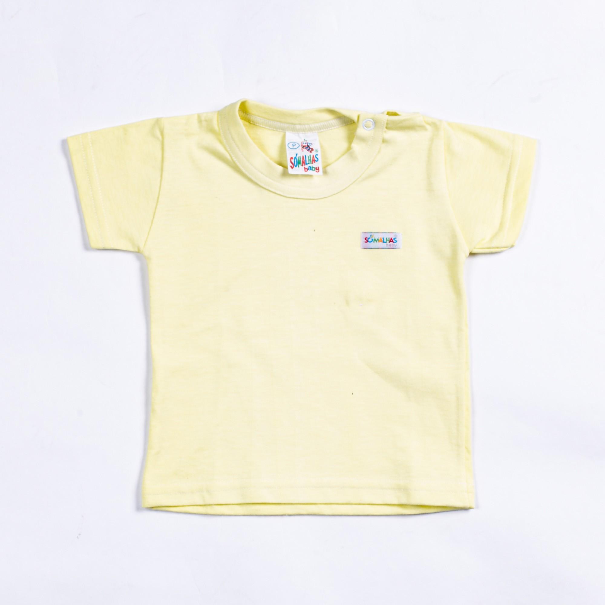 Camiseta Bebê Manga Curta Básica Com Detalhe Só Malhas
