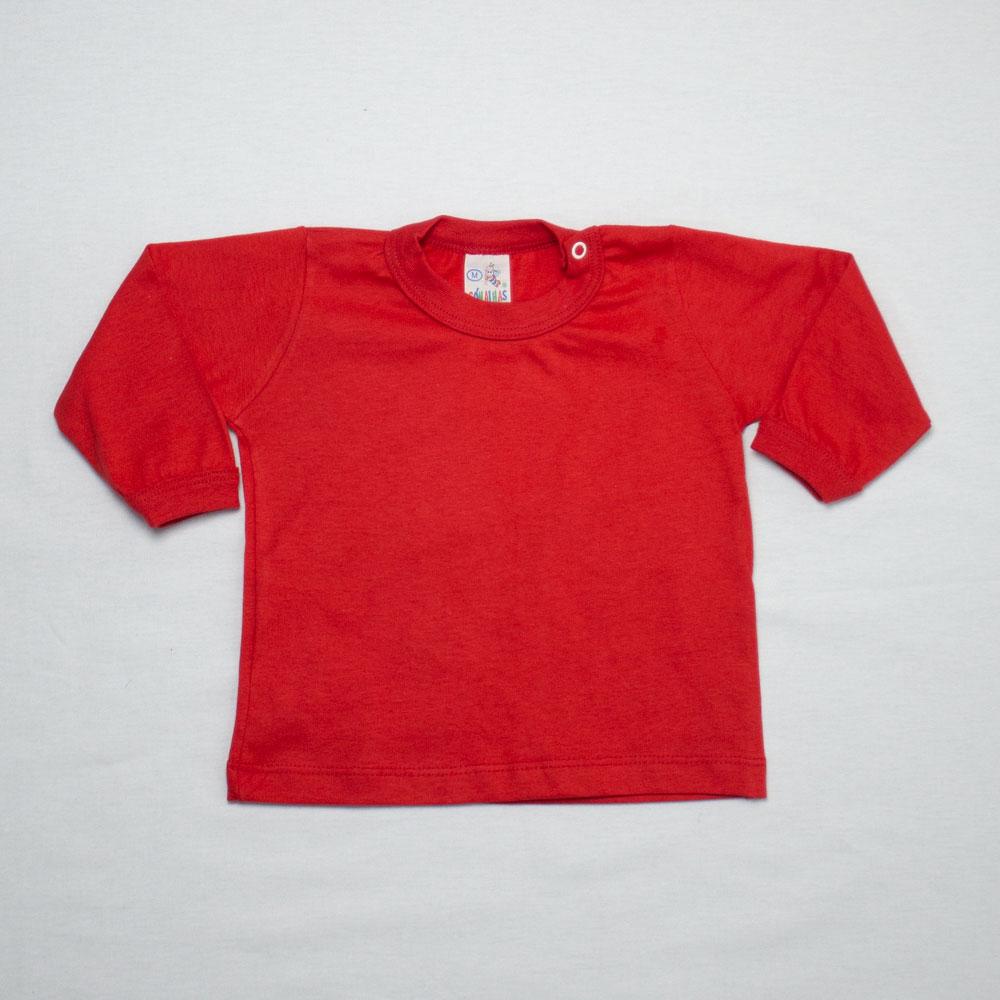 Camiseta Bebê Manga Longa Básica Com Botão Na Gola Só Malhas
