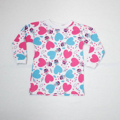 Camiseta Bebê Manga Longa Malha Estampada 1/4 Luizinho Baby