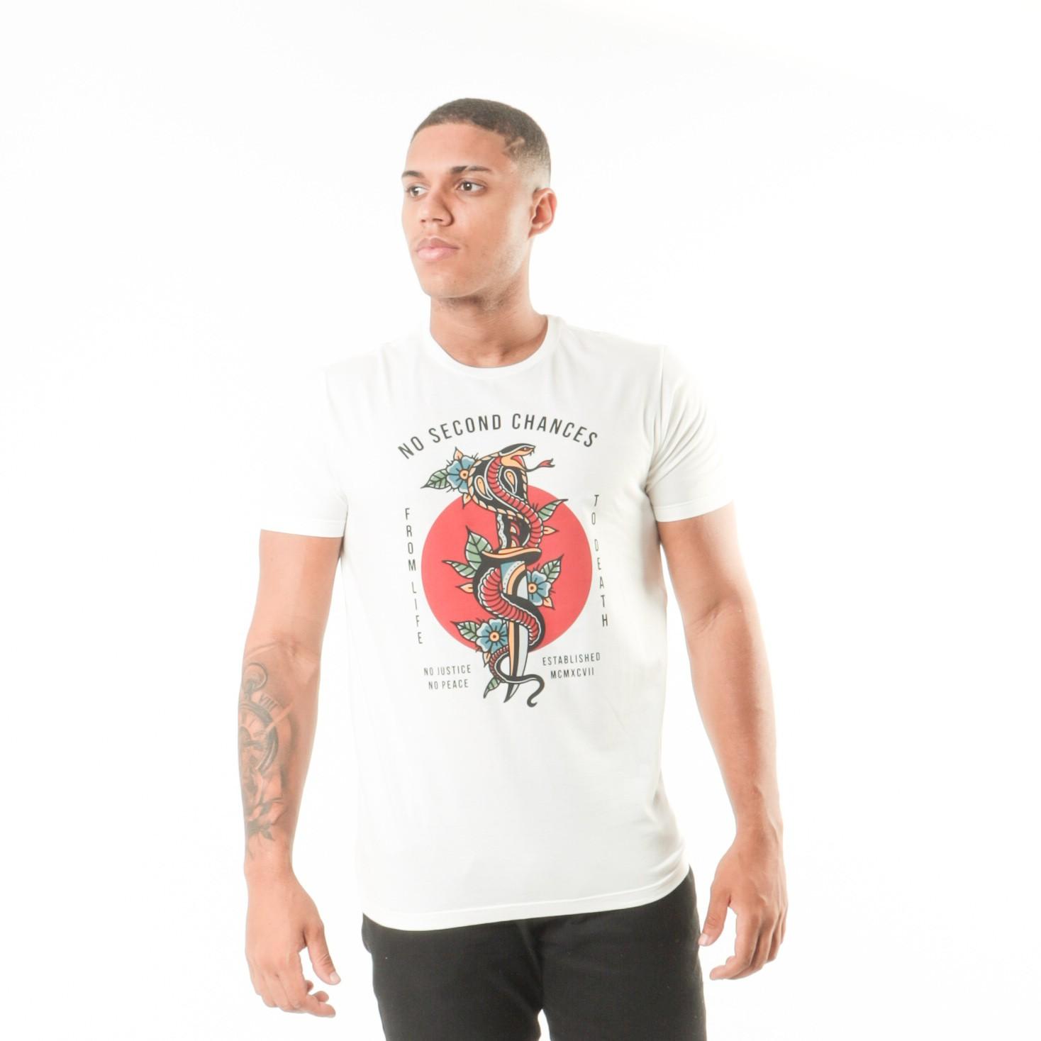 Camiseta Branca Estampa Cobra