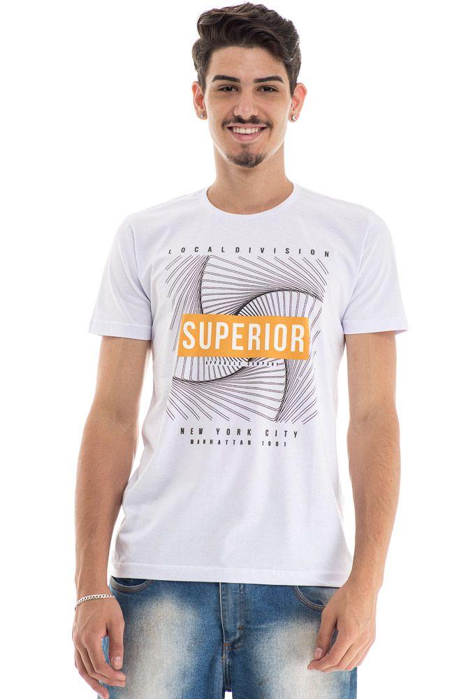Camiseta Branca Estampada New York City Superior