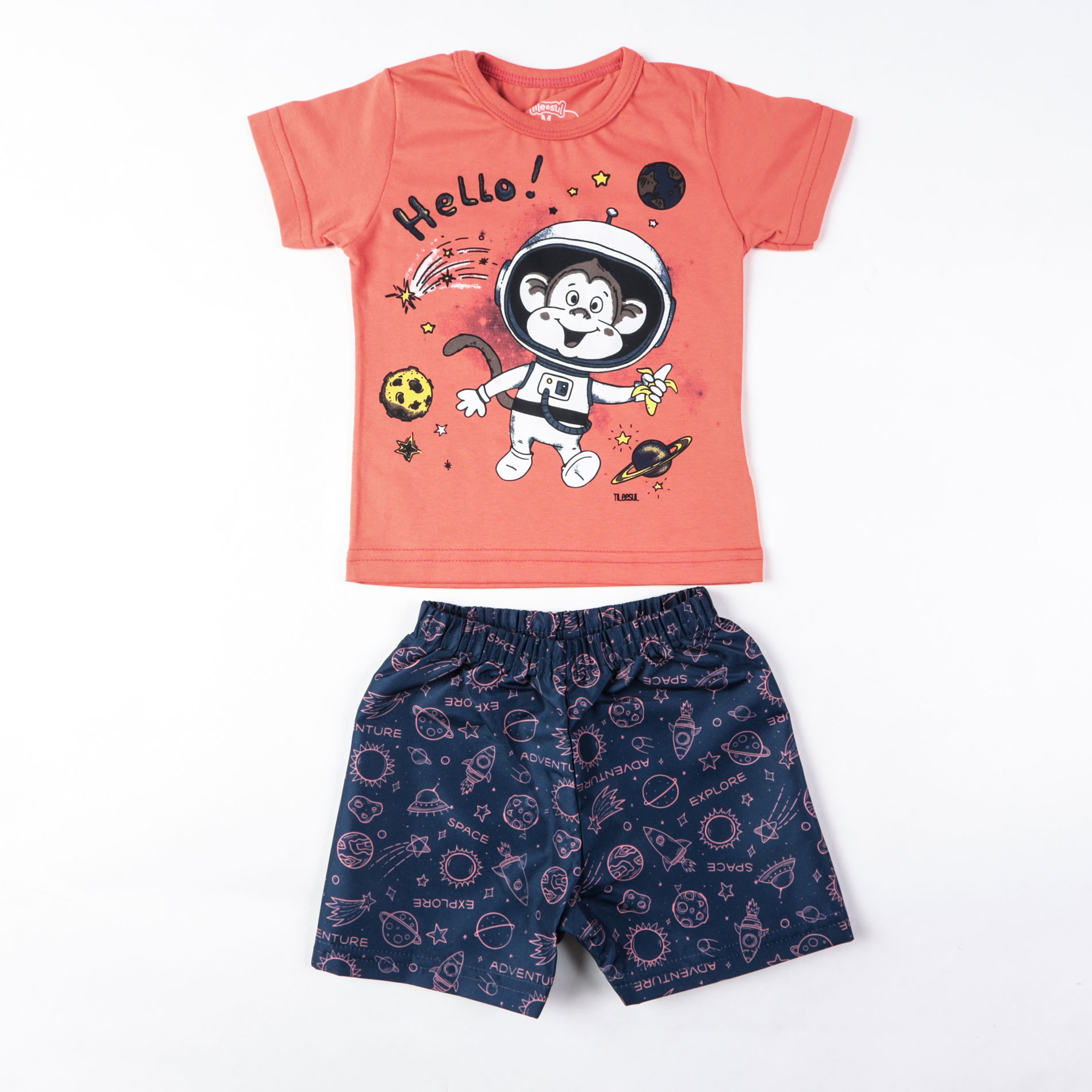 Camiseta Com Bermuda Tactel Bebê