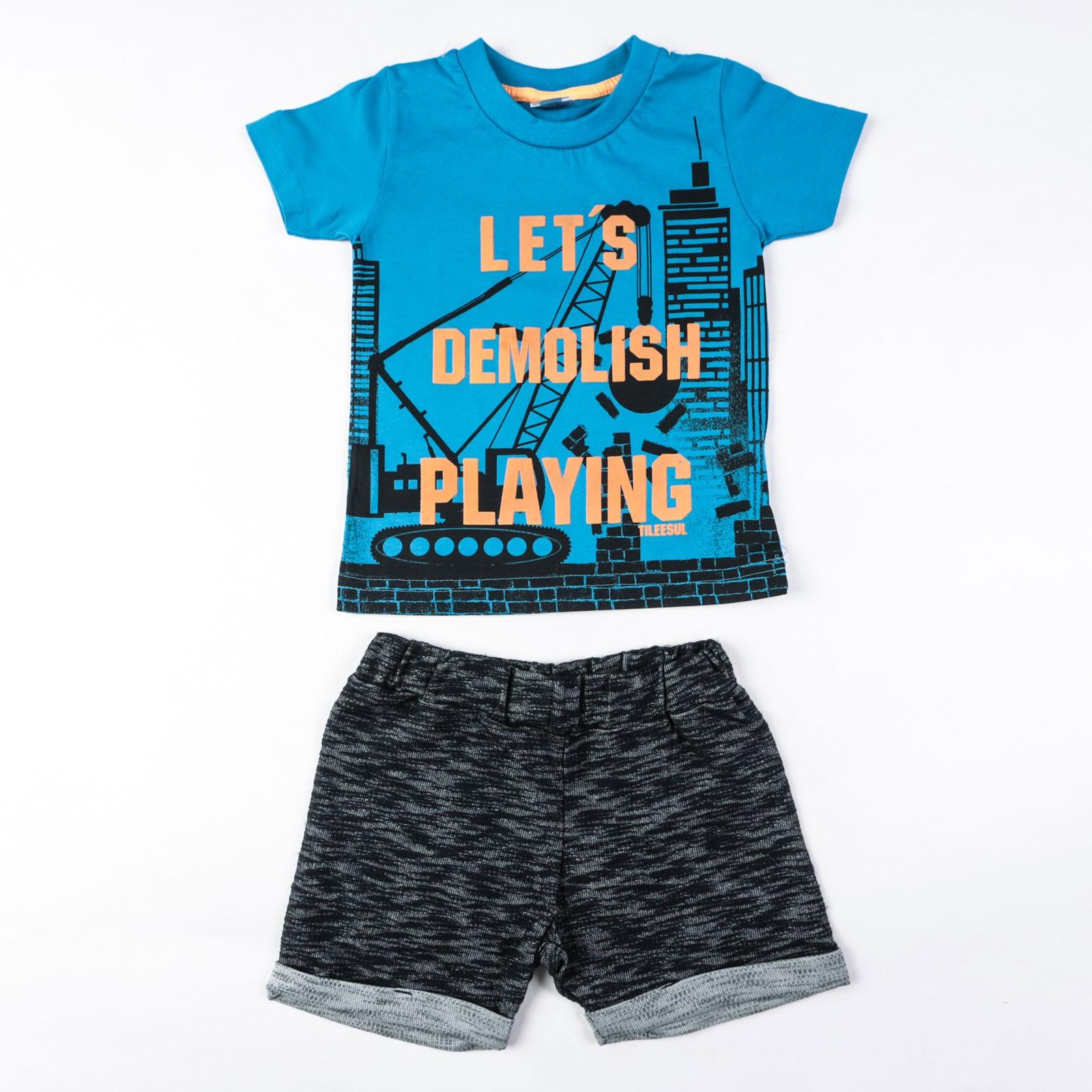 Conjunto Camiseta E Bermuda Moletom Infantil