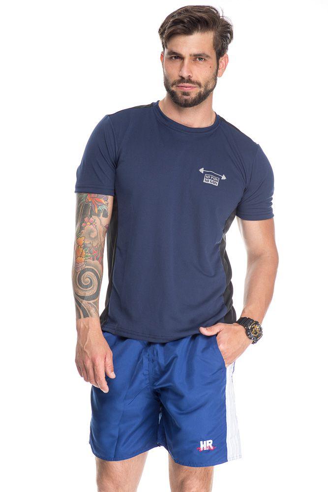 Camiseta Esportiva Com Faixa Lateral Azul