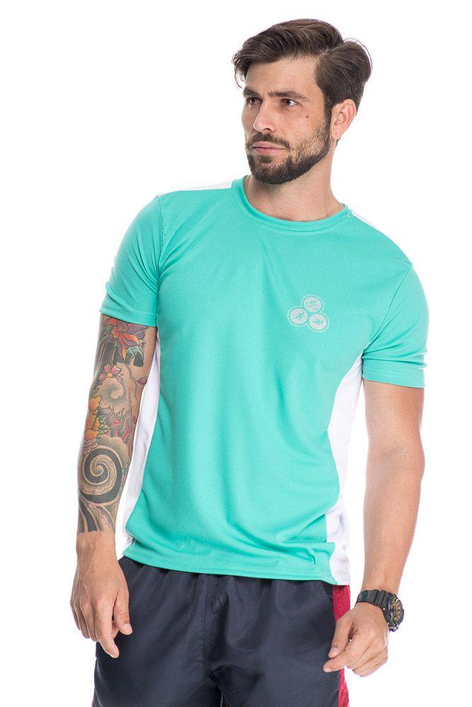 Camiseta Esportiva Com Faixa Lateral Verde
