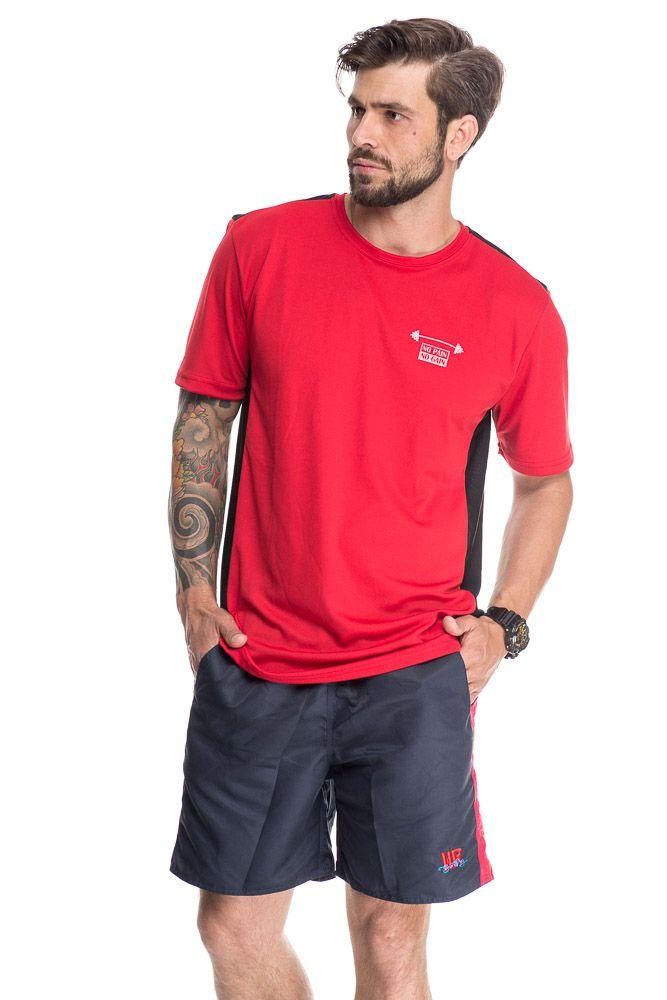 Camiseta Esportiva Com Faixa Lateral Vermelho