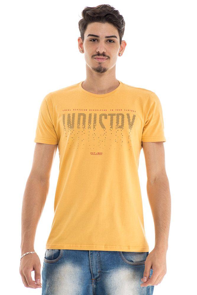 camiseta estampada amarela estampa peitoral