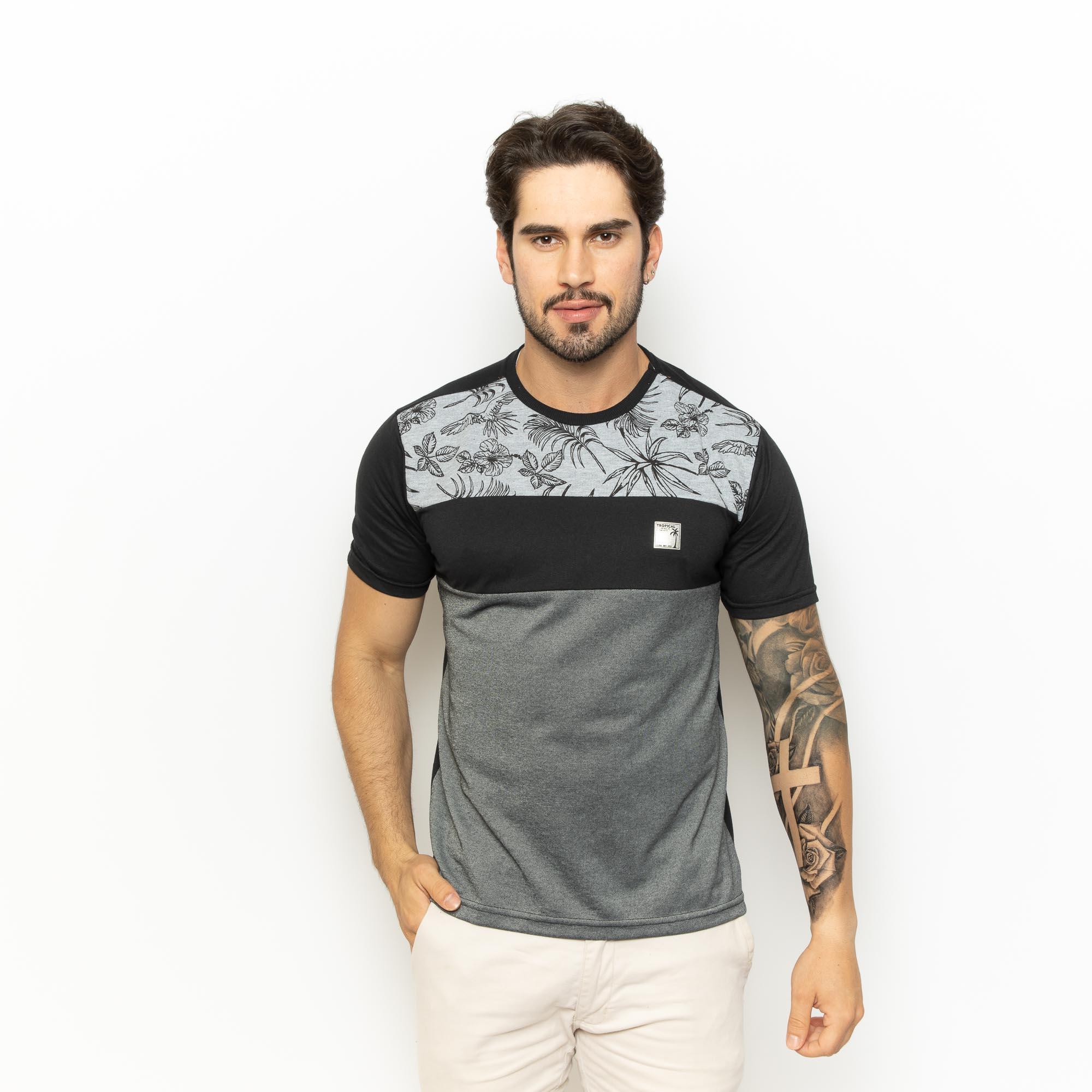 Camiseta Masc Com Detalhe Em Recorte P/GG-Dezali