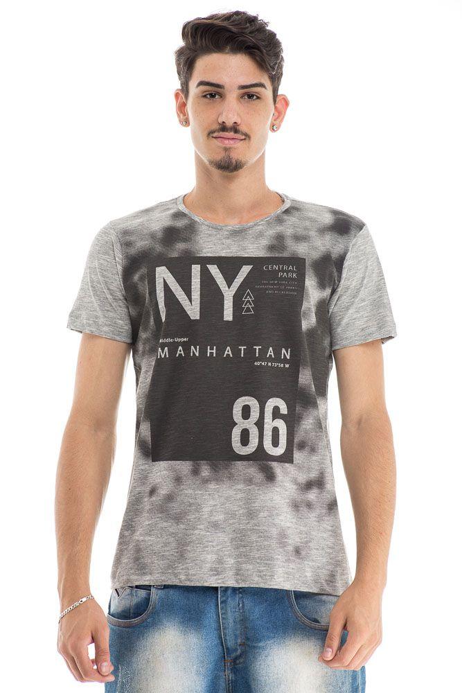 Camiseta Estonada Estampa Frontal NY 86