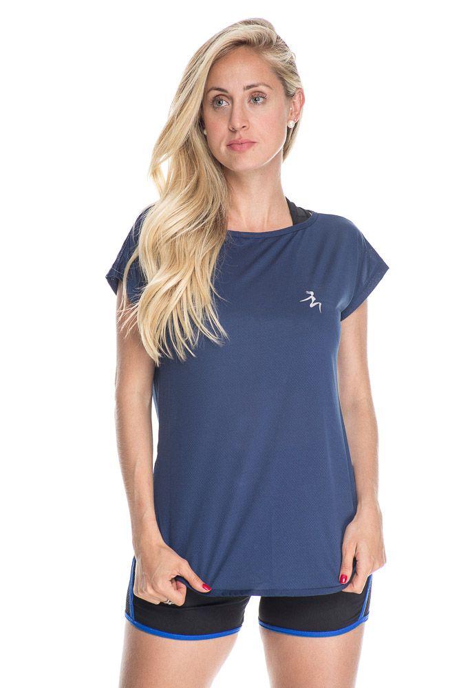 Camiseta Fitness Básica Lisa Azul