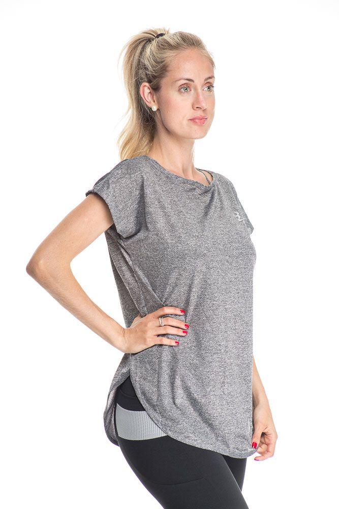 Camiseta Fitness Com Detalhe Lateral Alongada Cinza Mescla