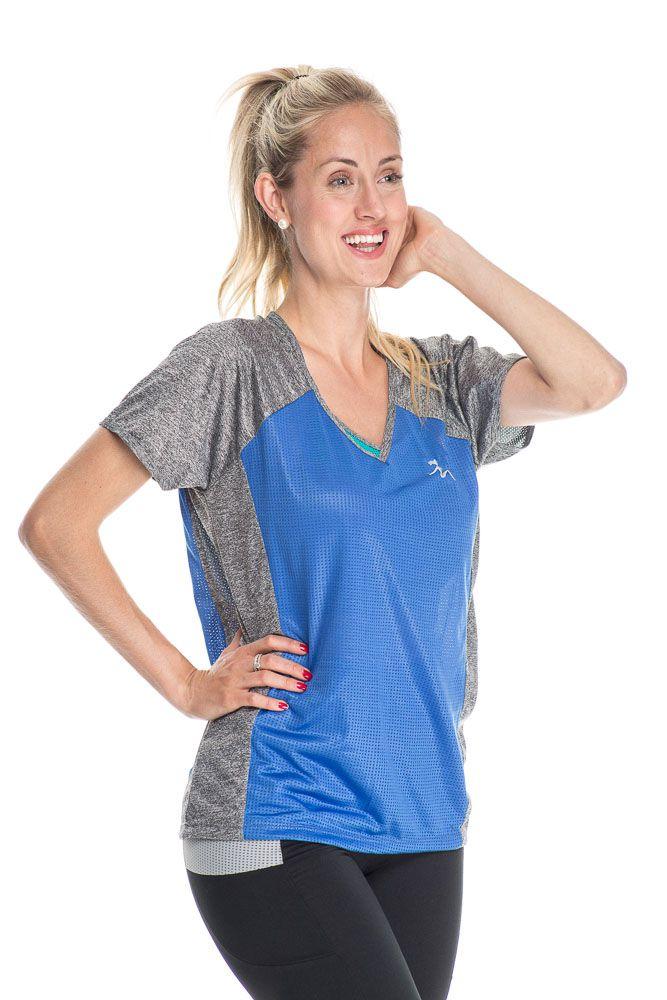 Camiseta Fitness Com Detalhe Na Frente Azul