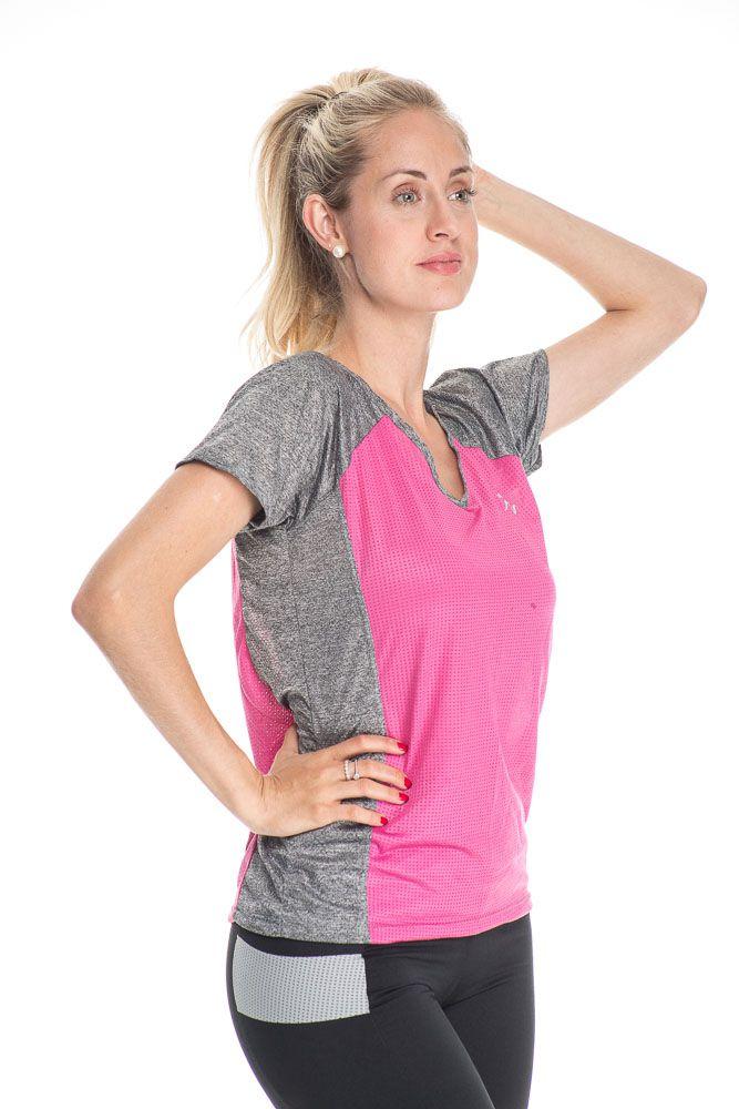 Camiseta Fitness Com Detalhe Na Frente Rosa