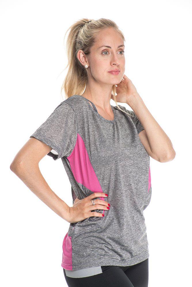 Camiseta Fitness Com Detalhe Nas Costas Cinza Mescla