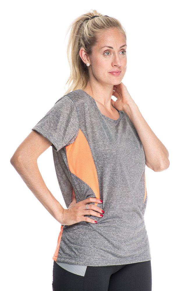 Camiseta Fitness Com Detalhe Nas Costas Laranja