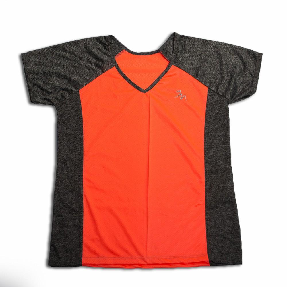 Camiseta Fitness Feminina Cinza Mescla Gola V