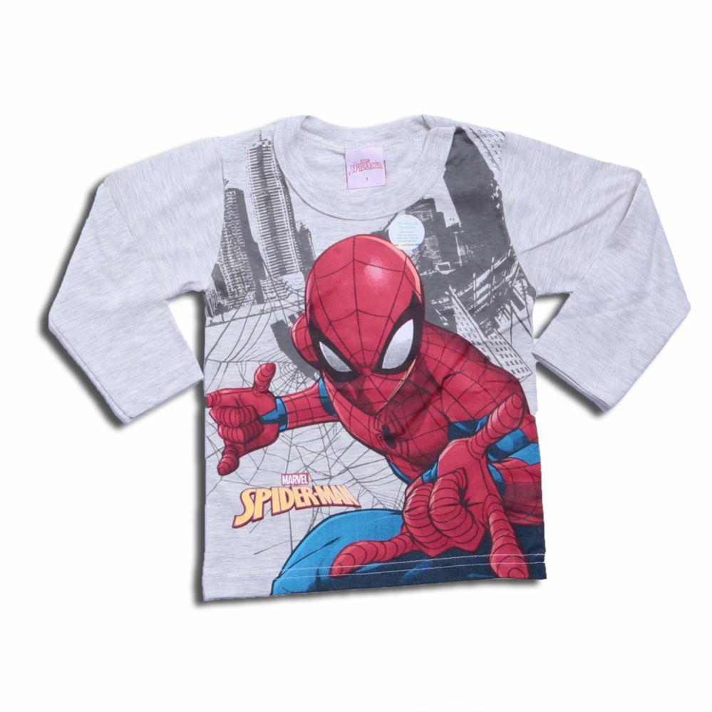 Camiseta Infantil Manga Longa Homem Aranha - Brandili
