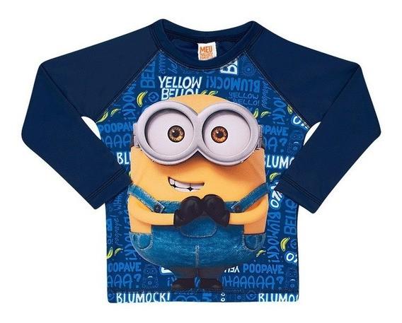 Camiseta Infantil Proteção Solar Azul Minions - Tip Top
