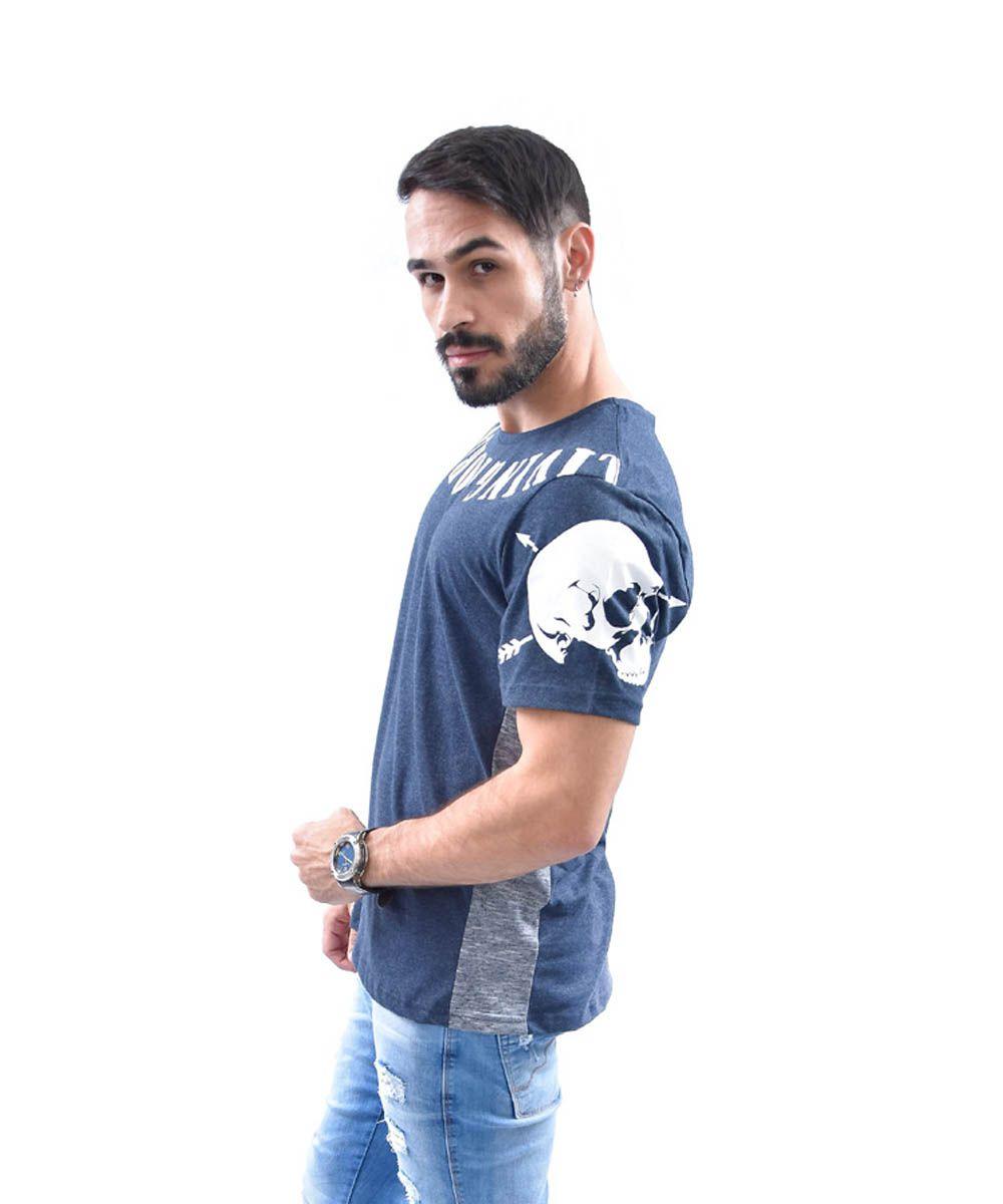 Camiseta Longfit Manga Curta Estampa Caveira Local Division Masculino -  Preto 1e7048da443