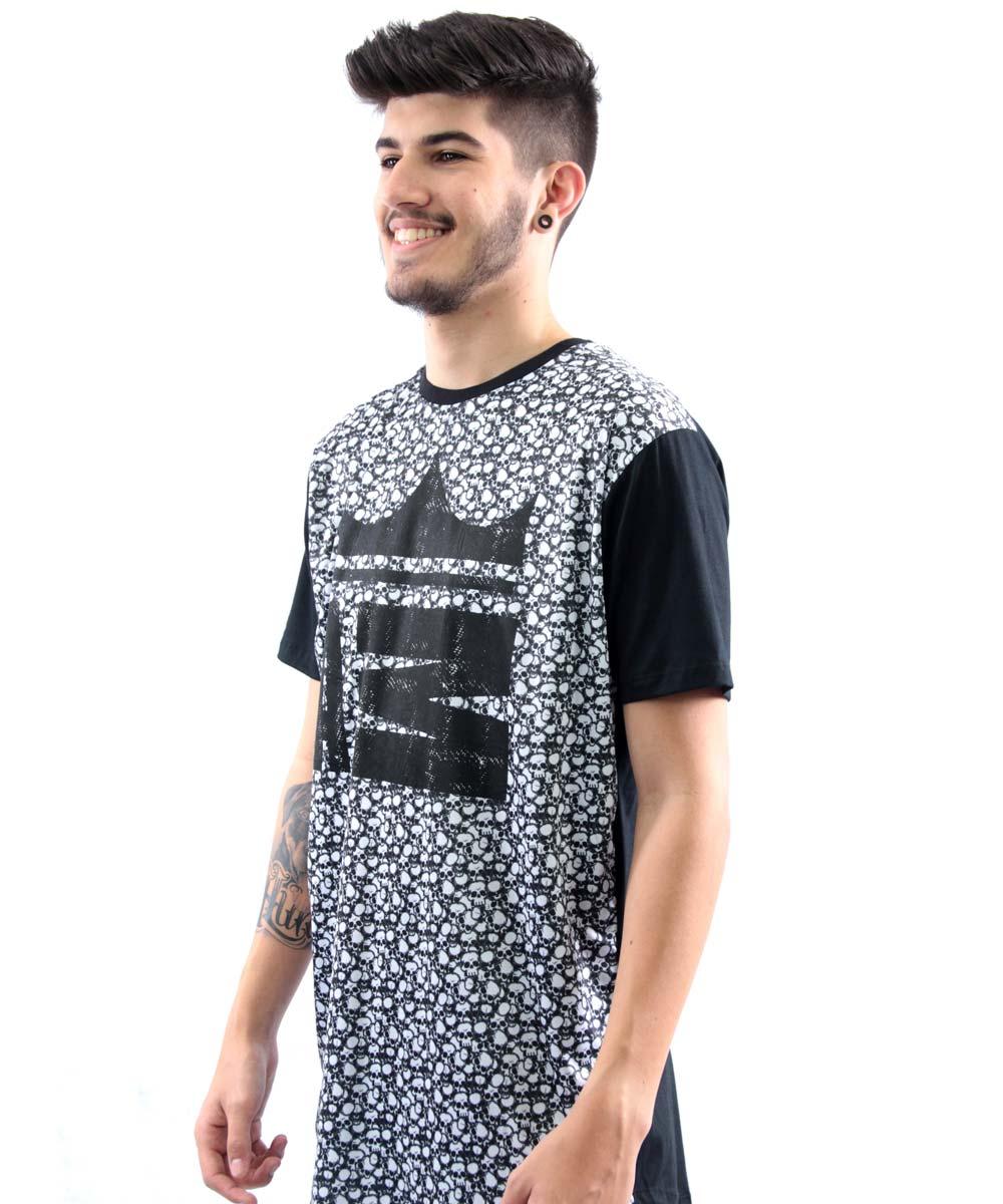 Camiseta Longline Manga Curta Estampa Caveira Arquitetura Da Moda Masculino  - Preto eab6d70e9f1